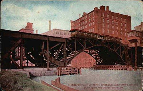 Metroplitan L Train Crossing Jack-Knife Bridge over Chicago River Original Vintage Postcard