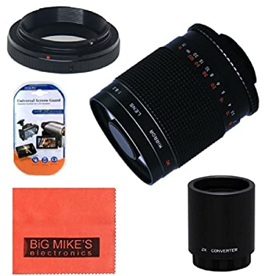 High-Power 500mm f/8.0 Telephoto Mirror Lens + 2x (doubles the zoom to 1000mm) for Canon Digital EOS Rebel T1i, T2i, T3, T3i, T4i, T5i, SL1, EOS60D, EOS70D, 50D, 40D, 30D, EOS 5D, EOS1D, EOS5D III, EOS 6D, EOS 7D Digital SLR Cameras from Big Mikes