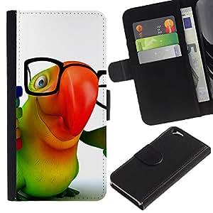 KLONGSHOP // Tirón de la caja Cartera de cuero con ranuras para tarjetas - Loro colorido Gafas 3D Animación Hipster - Apple Iphone 6 //