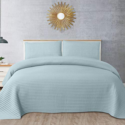 Sweet Home Collection Quilts King Size 3 Piece Set Vintage Pre Wash Oversized Reversible Pattern Stripe Pick-Stitch with Pillow Shams, Turquoise ()