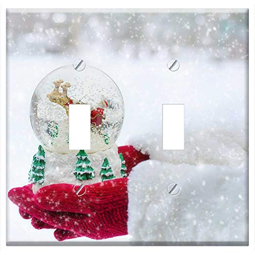 Switch Plate Double Toggle - Snow Globe Christmas Snow Globe Winter Ball Xmas