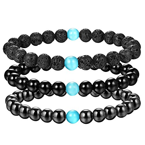 Cat Gemstone Bracelet Eye (Joriva Gemstone Lava Healing Bracelet Black Agate With Cat Eye Stretch Bracelet for Women Men)