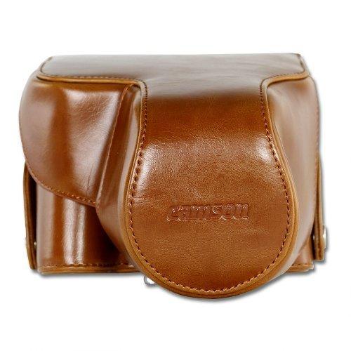 Camson Leather Vintage Case for Canon PowerShot SX60, SX50, SX40, SX30, (Light Brown)