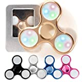 Auroralove Aluminum Led Shiny EDC Hand Tri-Spinner Fidget Toy for Anti-Anxiety Stress Reducer-Spins for up to 2-5 Minutes-Ceramic Bearing Focus Toy for Adult & Kids(Gold)