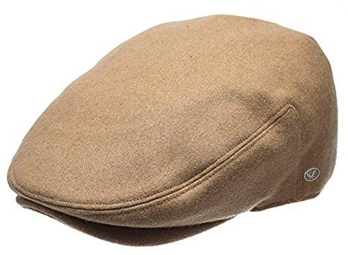 Classic Men's Flat Hat Wool Newsboy Driving Cap Daily wear (Plain Camel, X-Large) ()