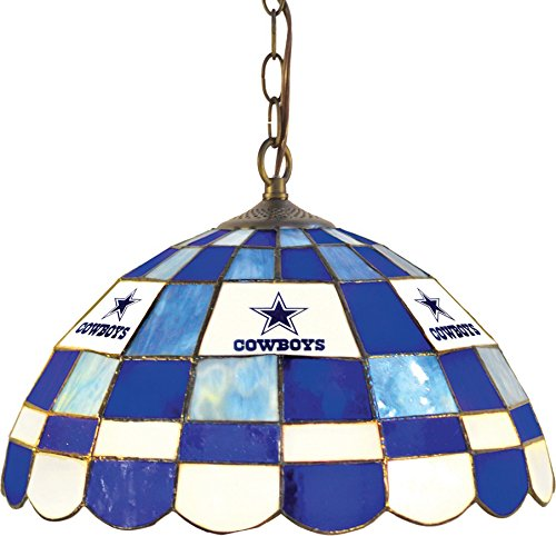 Imperial Officially Licensed NFL Merchandise: Tiffany-Style Stained Glass Round Dome Pub Light, Dallas Cowboys