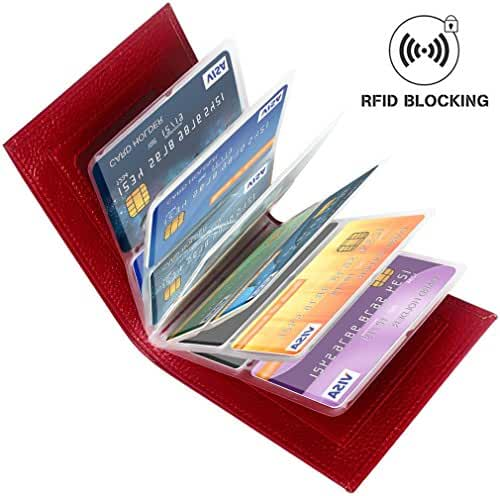 Aprince Amazing Men and Women Slim Genuine Cowhide Leather Wallet Card Case Coin Purse - Credit Card Protector - RFID Blocking Wallet