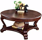 Ashley Brookfield Round Coffee Table in Dark Brown