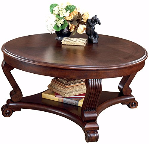 Scrolled Edge Glass Top Table - Ashley Furniture Signature Design - Brookfield Coffee Table - Cocktail Height - Round - Grand Elegance - Dark Brown