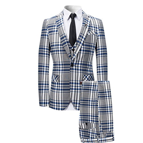 Mens 3 Piece Suit Check Plaid Slim fit One Button Formal Dress Blazer Jacket Tux Vest & Trousers Blue ()