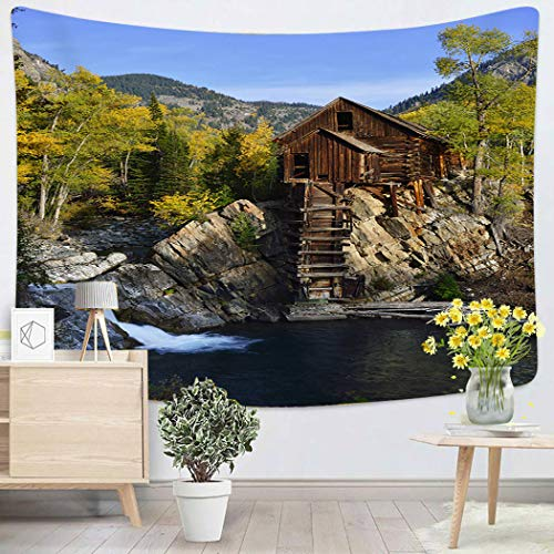 Lichtion Tapestry Abandoned Crystal Dead Horse Mill in Colorado During Fall Wall Hanging Polyester Living Room Beach Towel Picnic Mat Bedding Decoration 50 X 60 Inches (Crystal Mill In The Rocky Mountains Of Colorado)