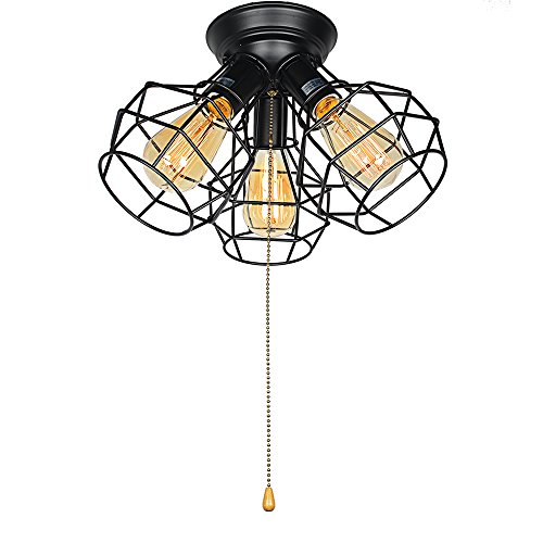 Baiwaiz Industrial Ceiling Light Fixture, 3-Light Metal Wire Cage Flush Mount Ceiling Light with Pull String Vintage Retro Close To Ceiling lighting Black Finish Edison E26 BW17018