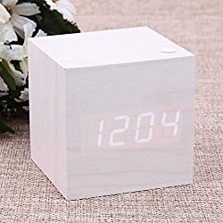 White Alarm Clock - Wooden Usb Aaa Led Thermometer Powered Digital Desk White Alarm Clock Fashionable And Modern Simple - Ceiling Port Digital Speaker Cute Vintage Samsung With Red Dimmer