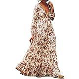 Hot Sale ! New Fashion Women Retro Print Floral V-Neck Dress, Ninasill Exclusive Beautiful Long Sleeve Evening Party Dress (XXL, White)
