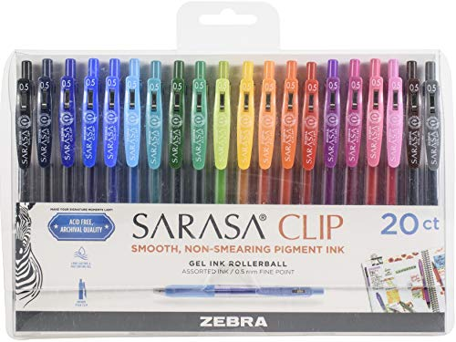 Zebra Pen Sarasa Clip Retractable Gel Ink Pens, Fine Point 0.5mm, Assorted Color Water Based Ink, 20-Count