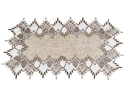 "Linens, Art and Things Lace Placemat 12"" x 21"" Neutral Earth Tones Placemat Dresser Scarf Coffee Table Runner End Table Doily"