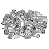 uxcell 5/32 inch (4mm) Diameter Wire Rope Aluminum Sleeves Clip Fittings Cable Crimps 100pcs