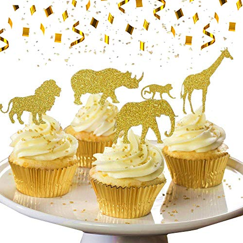 (30 Pcs JeVenis Gold Glitter Jungle Safari Animal Cupcake Toppers Jungle Animals Cake Decorations for Jungle safari Animals Party Baby Showers Birthday)