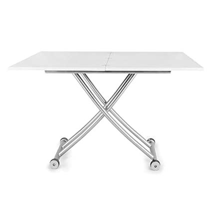 Amazon Com Transforming Coffee And Dining Table In High Gloss White