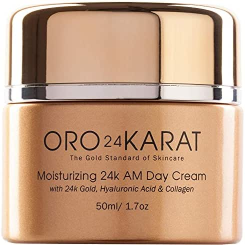 24K Moisturizing Day Cream with Hyaluronic Acid, Daily Care Quick-Absorbing New Anti-Aging Formula Supple Skin Anti-Wrinkle Rich with Vitamins, Collagen, and 24k Gold Made in the USA (1.7oz)