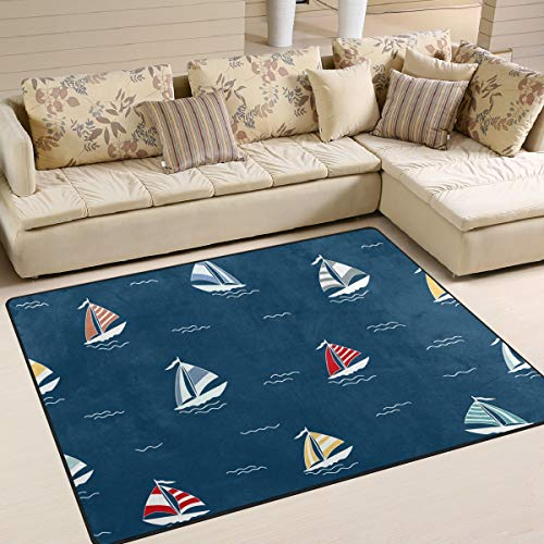 Area Rugs Red Yellow Blue Sailboat Pattern Navy Indoor/Outdoor Floor Mat Livingroom Bedroom Sofa Carpet Non Slip Home Hotel Large Custom Area Rug Mat 6.67'x4.83'