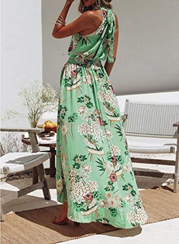 Dress Beach Maxi Evening Green Women's Sundress Long Nrealy Summer Sleeveless Party Boho Floral 1OwpX