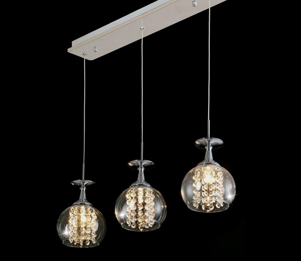 Nilight modern 3 lights crystal wineglass wine glass ceiling light nilight modern 3 lights crystal wineglass wine glass ceiling light pendant lamp amazon kitchen home arubaitofo Images