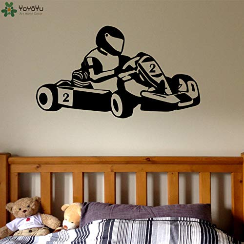 saversshoppe Wall Decal Go Kart Motor Pattern Wall Stickers for Kids Rooms Modern Fashion Headboard Livingroom Home Decor Mural CY145 ()