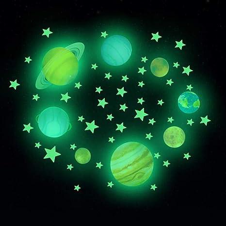 Planeta Adhesivo de Pared Adhesivo Fluorescente Brillante decoraci/ón de la habitaci/ón Infantil Noche Moda Universo Sistema Solar