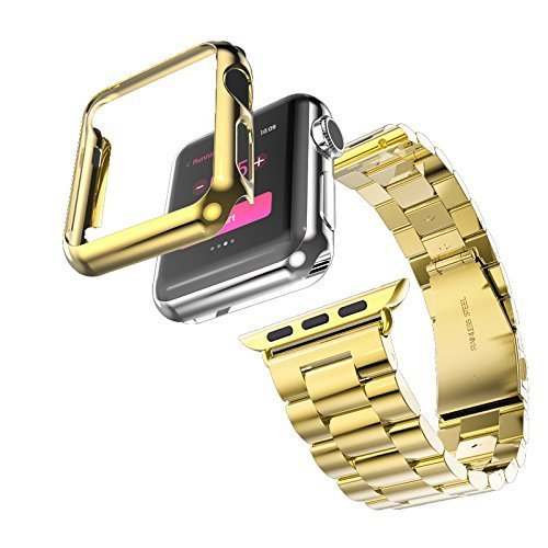 Apple Watch Gold Band 42mm, iWatch Stainless Steel Replacement Band Gold 42mm,Wrist Band Apple Watch Chain Come with Gold Color Watch Screen Protector and DIY Tool Kit (01 Chain Guard)