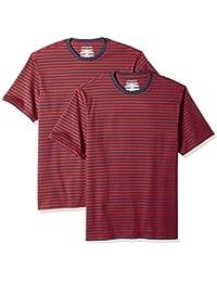 Men's Loose-fit Short-Sleeve Stripe Crewneck T-Shirts