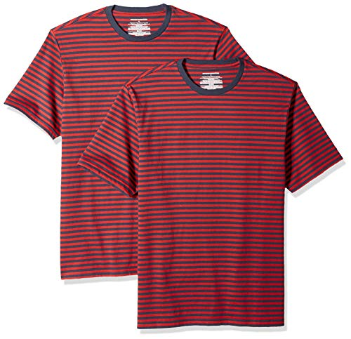 Amazon Essentials Men's Loose-Fit Short-Sleeve Stripe Crewneck T-Shirts, Red/Navy, X-Small ()