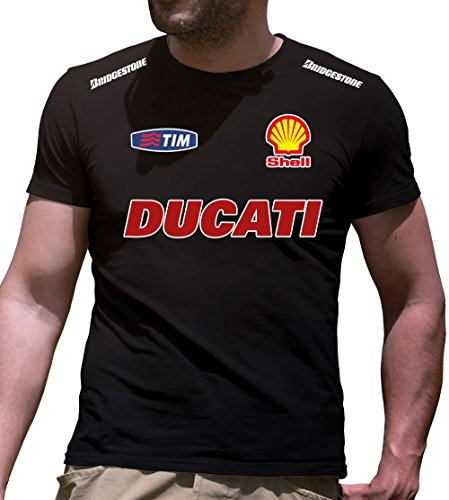 Camiseta de manga corta DUCATI impresos a mano Negro