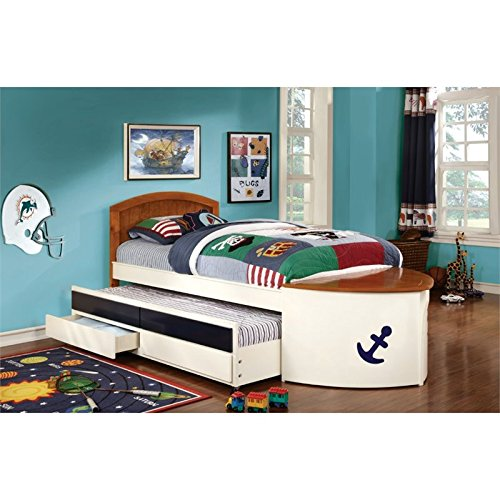 (Furniture of America Youth Boat Design Bed with Trundle and Storage Drawer, Twin, White and Oak)