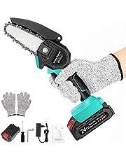 Wzone Mini-kettingzaag, elektrisch, 4 inch elektrische kettingzaagset met een accu van 24 V 2 Ah, handschoenen, een oplader voor het snijden van hout, metaal, kunststof