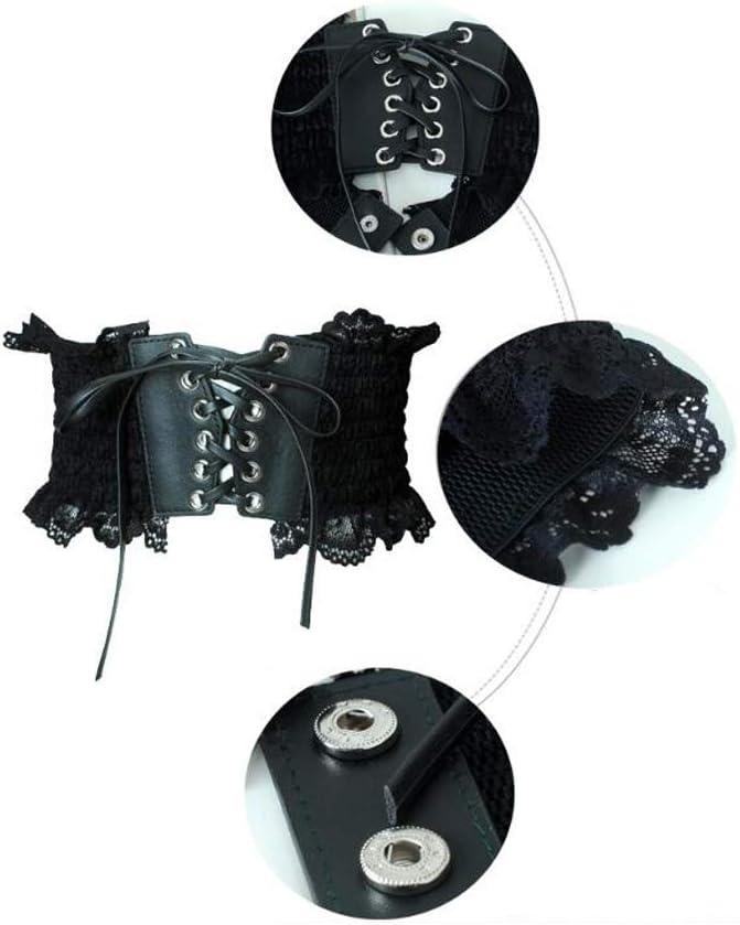 SJ-man's belt Confortable Ceinture Large élastique pour Femme, Large Ceinture en Cuir PU Ajustable (Color : Black) White