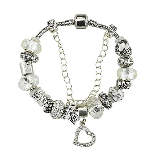 White Birch Silver Plated Charm Bracelets and Charm for Women White Heart Large 8.5 inch/22 - One Day Uk Sale