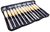 12 Piece Wood Carving Hand Chisel Tool Set Woodworking Professional Gouges With Pouch