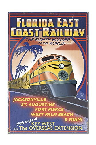 Key West, Florida - East Coast Railway (8x12 Acrylic Wall Sign)