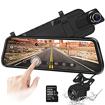 10″ Mirror Dash Cam Backup Camera Full Touch Screen Video Streaming Mirror Camera 170° 1080P Front and 150° 1080P Rear View Camera Dual Lens with Night Vision & Parking Monitor (Free 32GB SD Card)