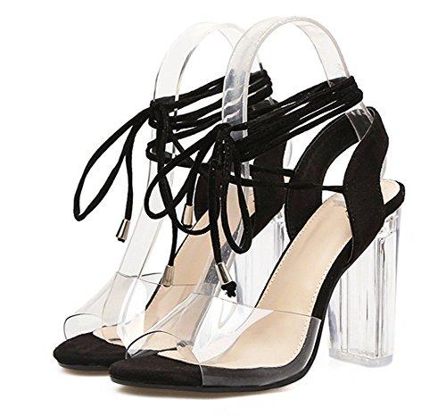 Offene Damen Sexy Sandale Schnürung Blockabsatz mit Aisun Zehen Transparent Kunststoff Schwarz qE75dwC