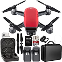 DJI Spark Portable Mini Drone Quadcopter Essential Portable Bag Shoulder Travel Case Bundle (Lava Red)