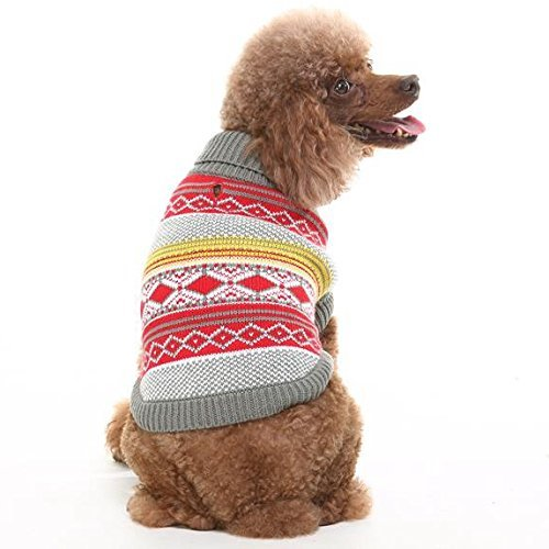 EXPAWLORER Knit Festive Dog Sweater, Holiday Christmas Clothes,Red
