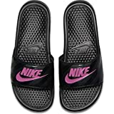 Nike Women's Benassi Just Do It Sandal, Black/Vivid Pink - Black, 7 Regular US