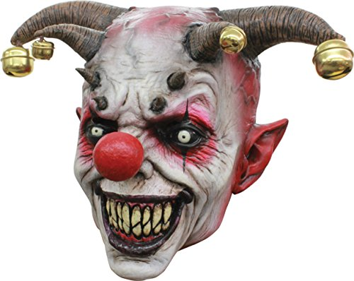 (Jingle Jangle Psycho Evil Jester Clown Latex Adult Halloween Costume)