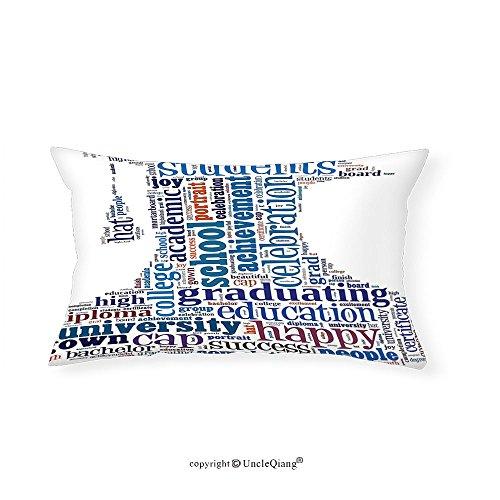 VROSELV Custom pillowcasesGraduation Education Cap Arrangement with Words Bachelor School Young Student Grown Design for Bedroom Living Room Dorm Multi(14''x24'') by VROSELV