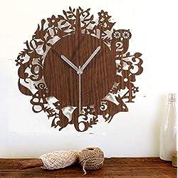 Summarlee Animal Wood Wall Clock 12 Zodiac Cartoon Mute Pastoral Cute Forest Retro Creative Wall Clock Wall Clock Table