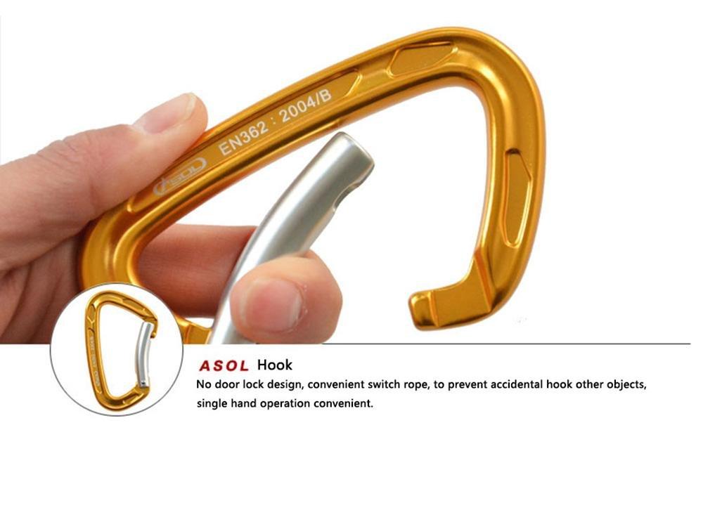 Amazon.com : ASOL Karabiner Professionals Bend Quickdraw & In Lega Di Magnesio Alluminio Alpinismo Fibbia & Arrampicata Moschettone & Outdoor Climbing Gear ...