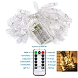40 LED Photo Clips String Lights Holder with Remote & Timer Function for Bedroom Hanging Photos, Cards and Artworks, Includes Clear Adhesive Hooks for Convenient Easy Setup