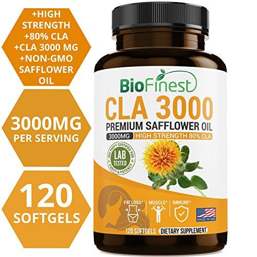 Biofinest CLA Safflower Oil 1500 / 3000mg - Conjugated Linoleic Acid - Non-GMO, Non-Stimulating, Gluten Free - Best for Men & Women (120 Softgels) by BioFinest